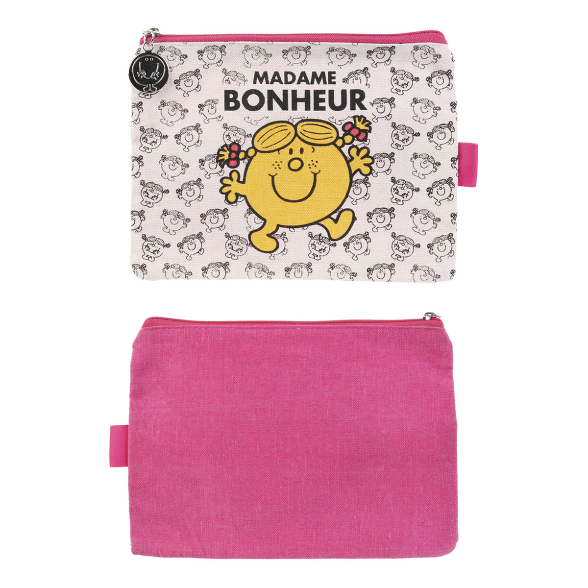 Trousse plate coton \'Monsieur Madame\' rose (Mme Bonheur) - 19x14 cm - [R0019]