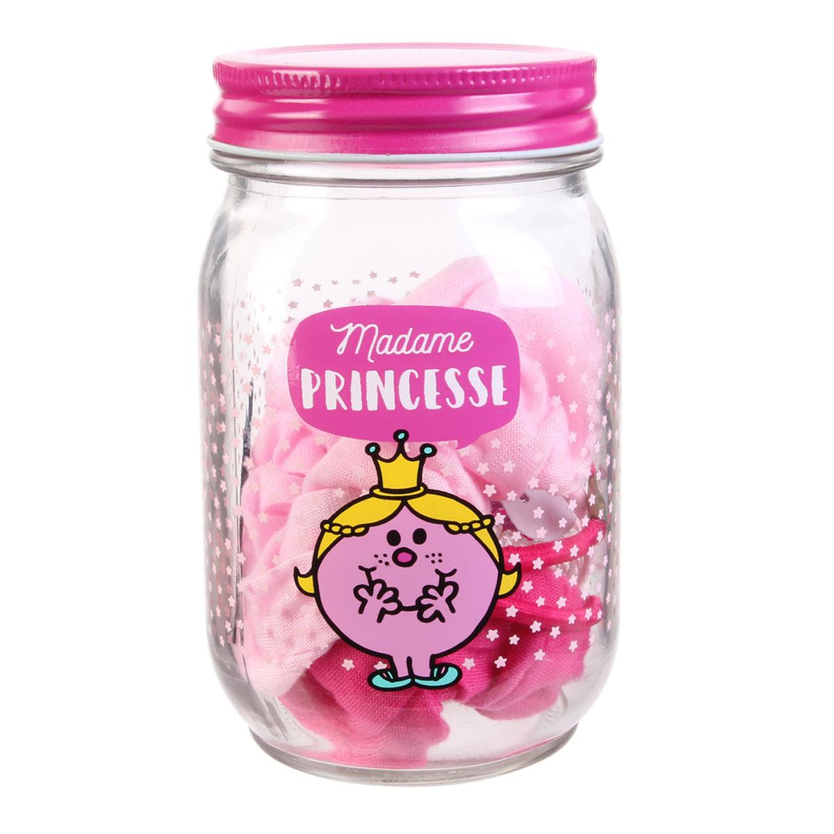 Mason jar accessoires cheveux \'Monsieur Madame\' rose (Mme Princesse) - 13x8 cm (29 pièces) - [R0023]