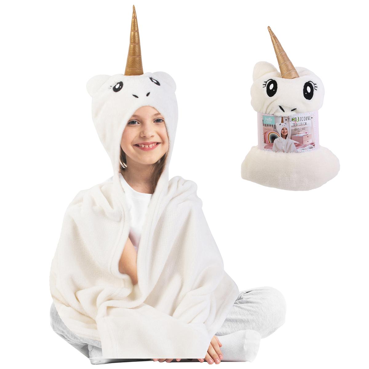 Plaid créateur \'Licorne My Unicorn\' blanc doré - 110x90 cm - [R0035]