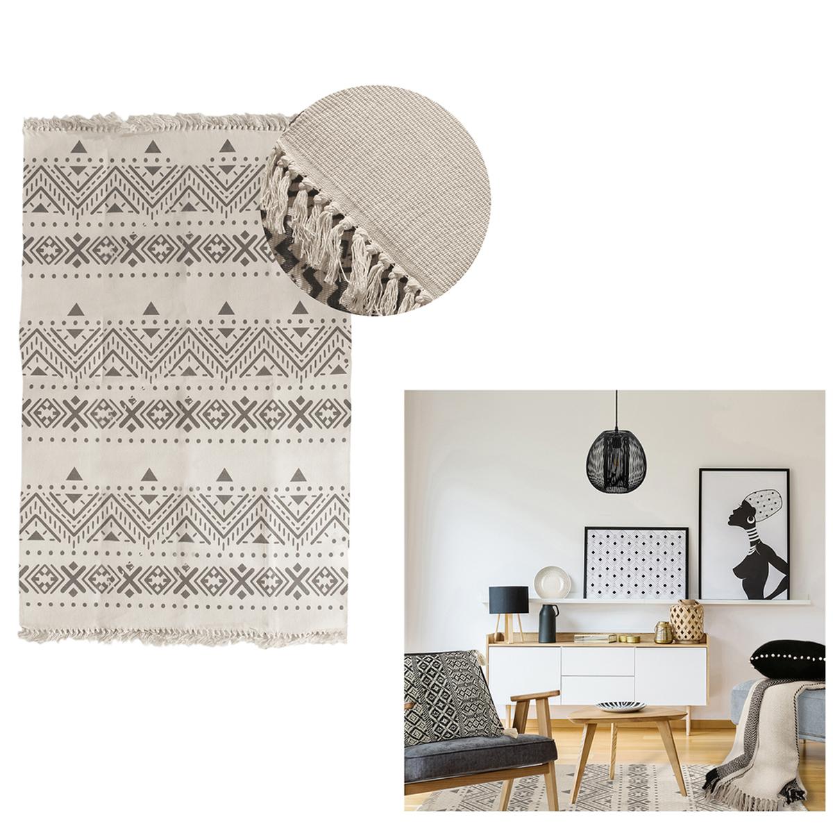 Tapis coton \'Boho\' écru gris - 200x140 cm - [R0047]