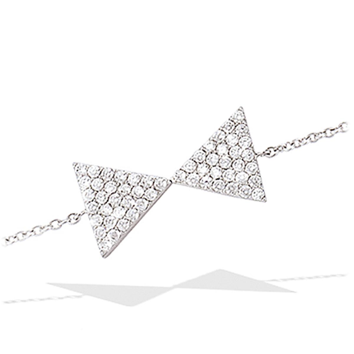 Bracelet Argent \'Noeud Romantique\' blanc argenté (rhodié) - 18x10 mm - [L7194]