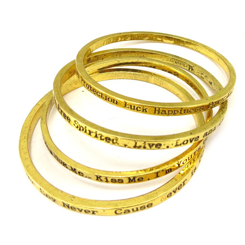Bracelet Créateur \'Cunégonde\' doré (4 rangs) - [K6928]
