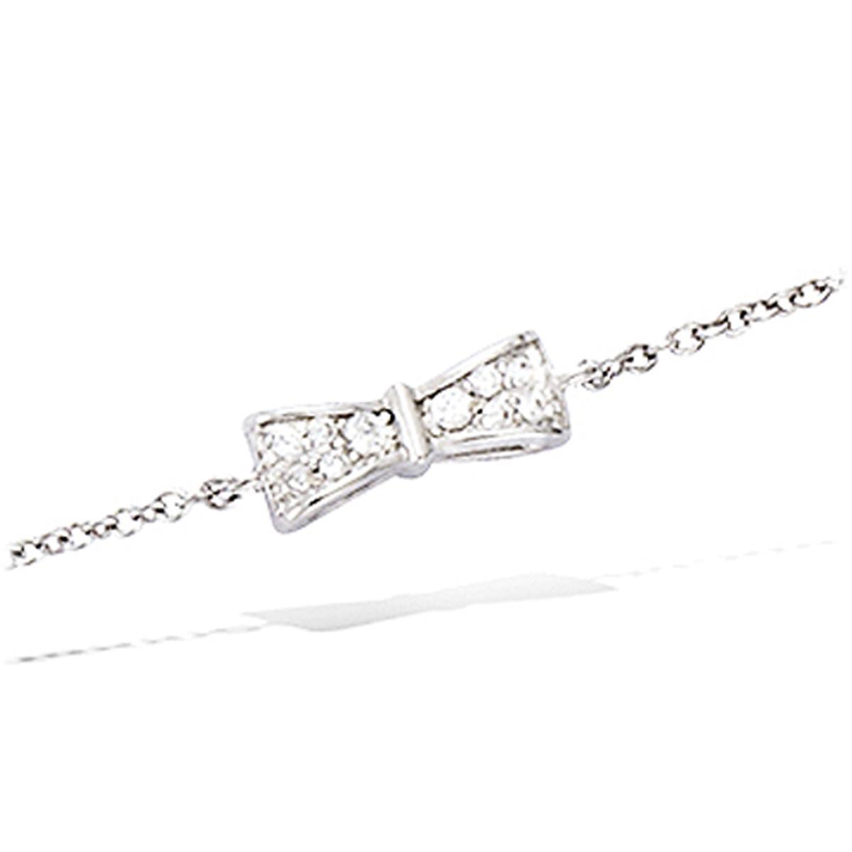 Bracelet Argent \'Noeud Romantique\' blanc argenté (rhodié) - 11x4 mm - [L7200]