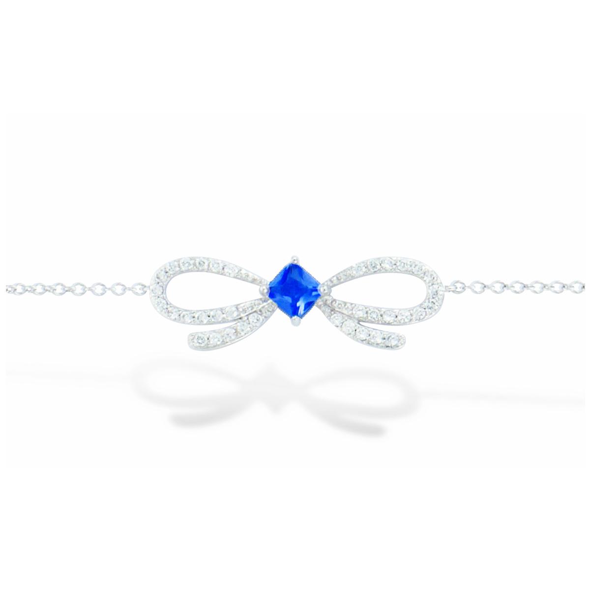 Bracelet Argent \'Noeud Romantique\' saphir blanc (rhodié) - 25x8 mm - [L7212]