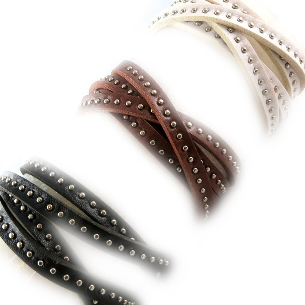 3 bracelets cuir \'Authentik\' noir marron blanc - [K6952]