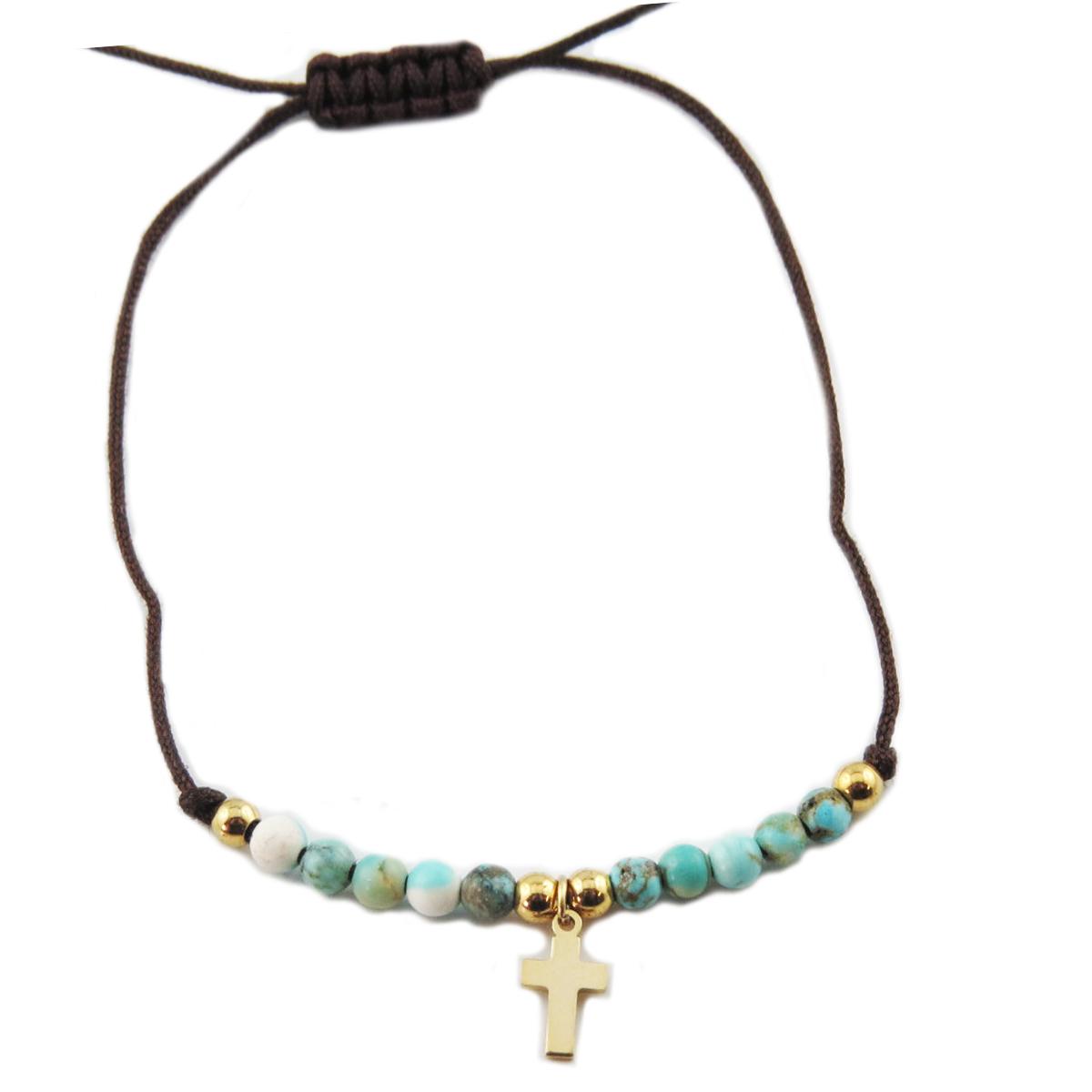 Bracelet acier \'Croix\' turquoise doré - 10x7 mm - [R0131]