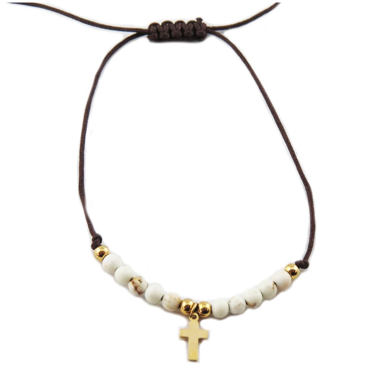 Bracelet acier \'Croix\' blanc doré - 10x7 mm - [R0133]