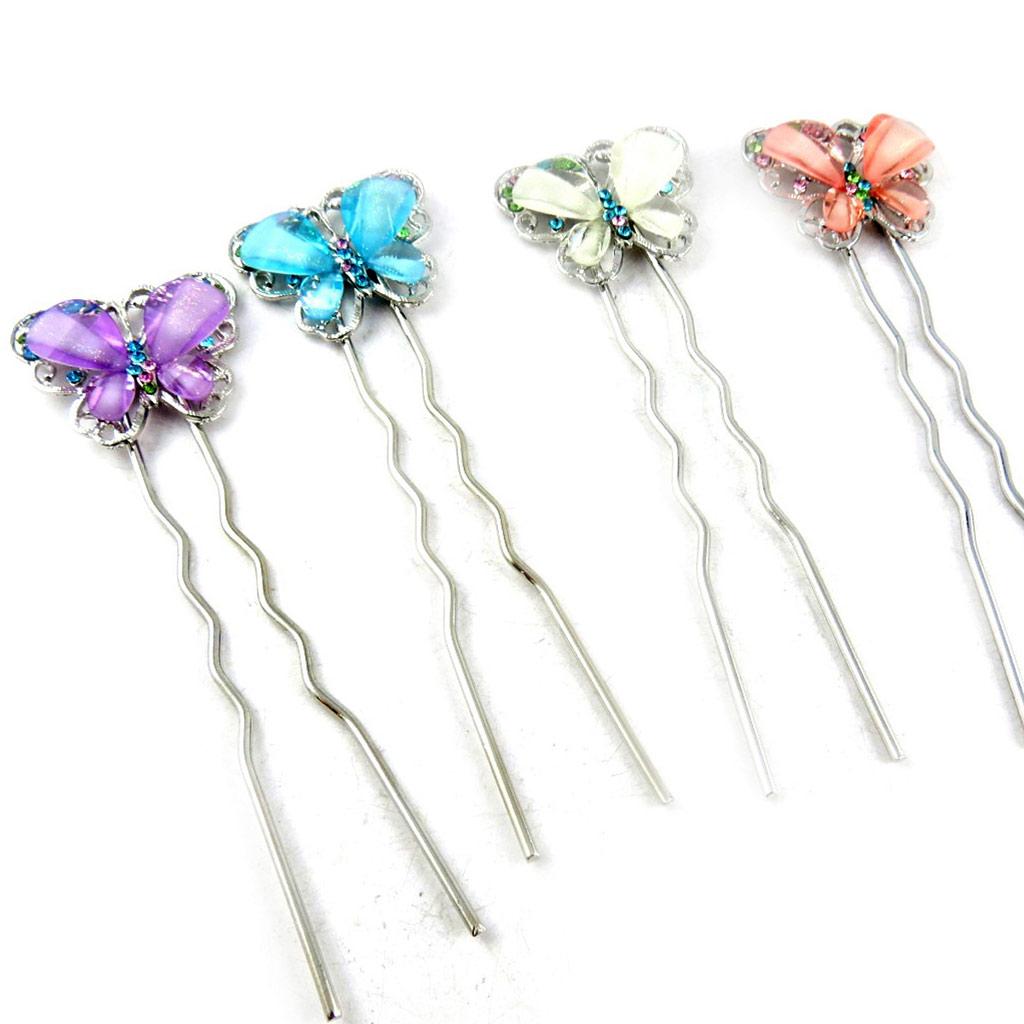 4 picots chignon \'Papillons\' Multicolore - [K6962]