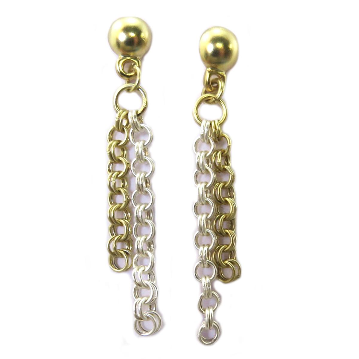 Boucles Créateur \'Antica\' doré argenté - 50x9 mm - [P9577]