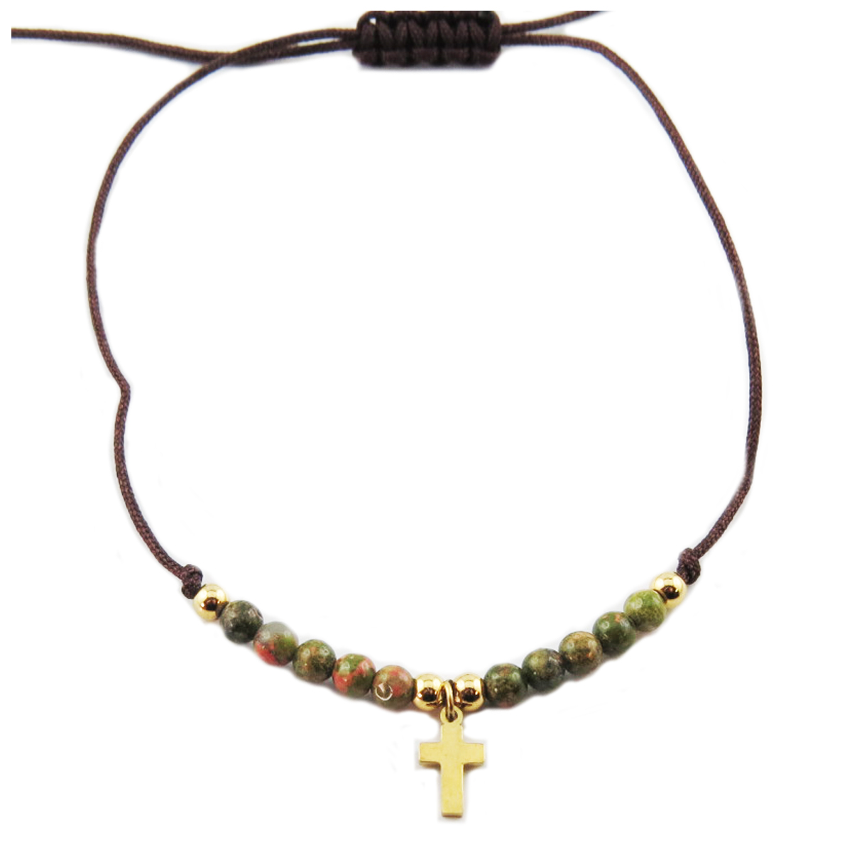 Bracelet acier \'Croix\' vert doré - 10x7 mm - [R0135]