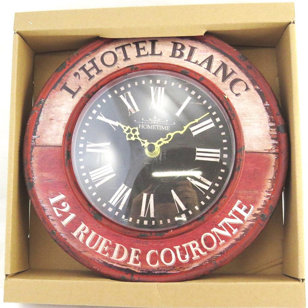 Horloge métal \'Terroir Français\' l\'Hotel blanc (24 cm) - [M7776]