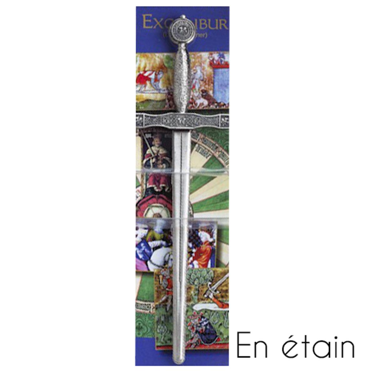 Coupe Papier étain \'Excalibur\' gris argenté - 16 cm - [R1475]