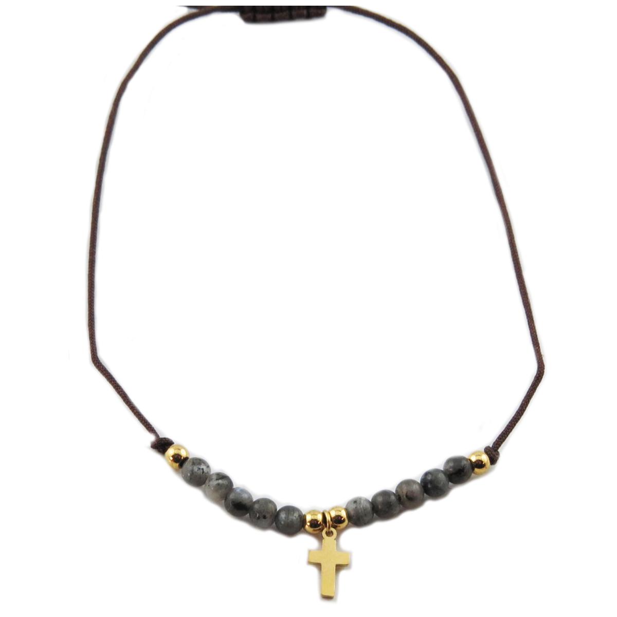 Bracelet acier \'Croix\' gris doré - 10x7 mm - [R0136]