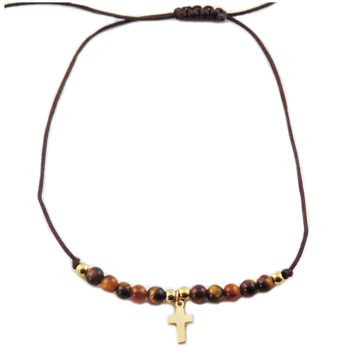 Bracelet acier \'Croix\' marron doré - 10x7 mm - [R0137]