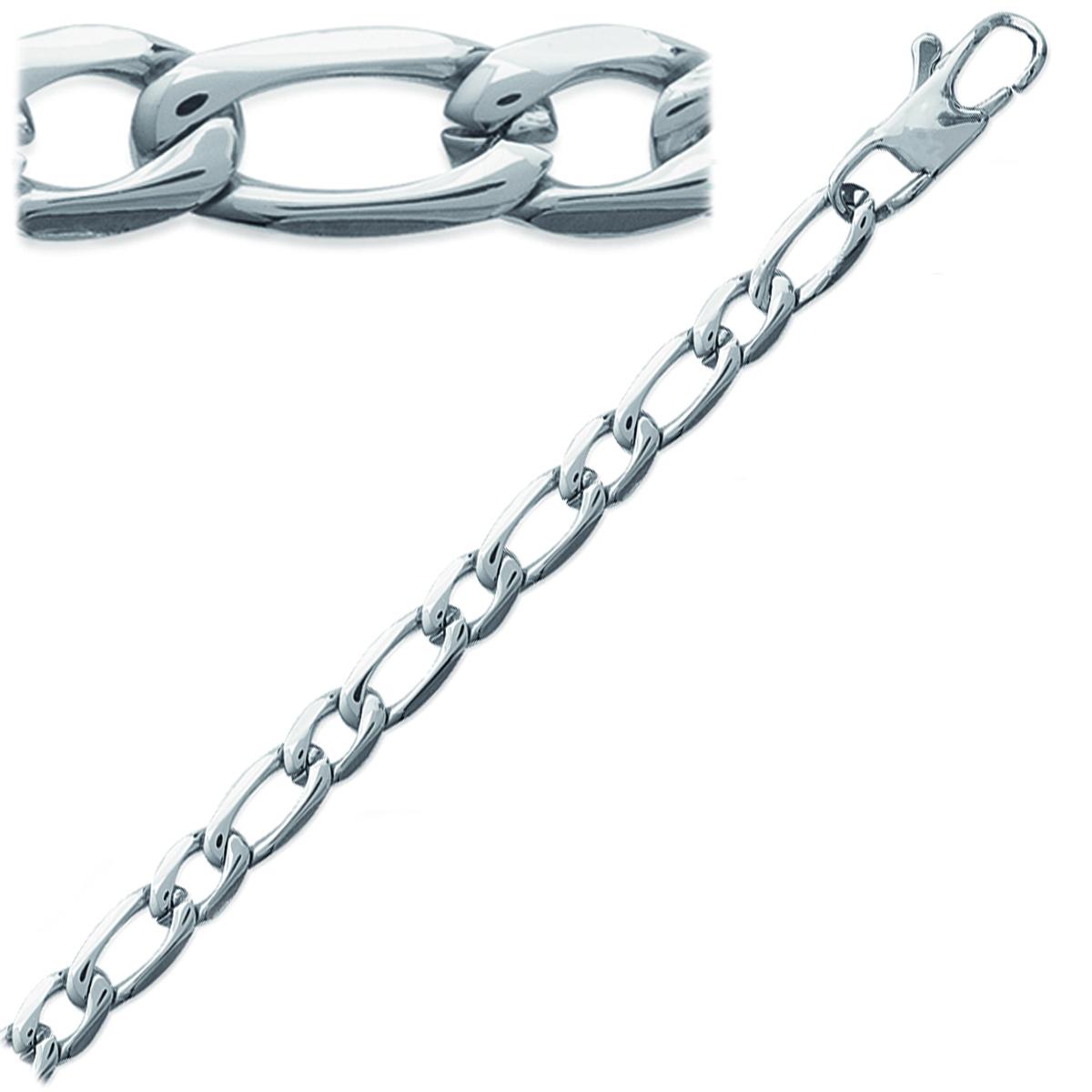 Bracelet Acier \'Maille Figaro\' argenté - 21 cm 5 mm  - [J9354]
