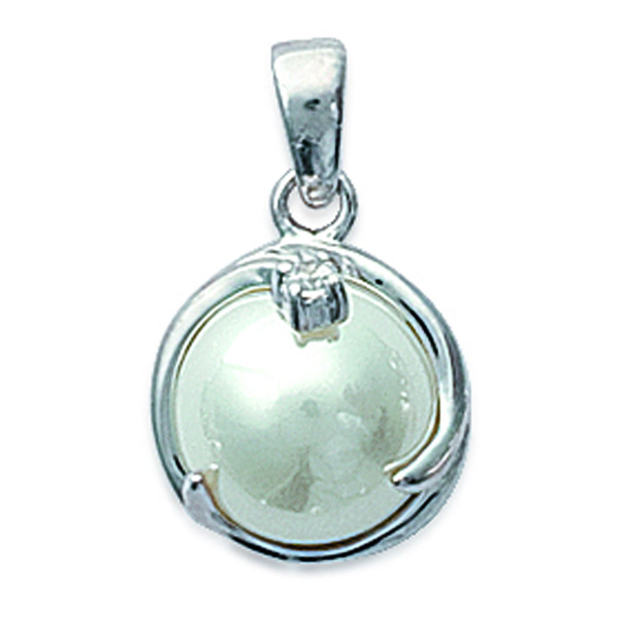 Pendentif Argent \'Douceur\' Blanc argenté (rhodié) - 13 mm - [B9414]