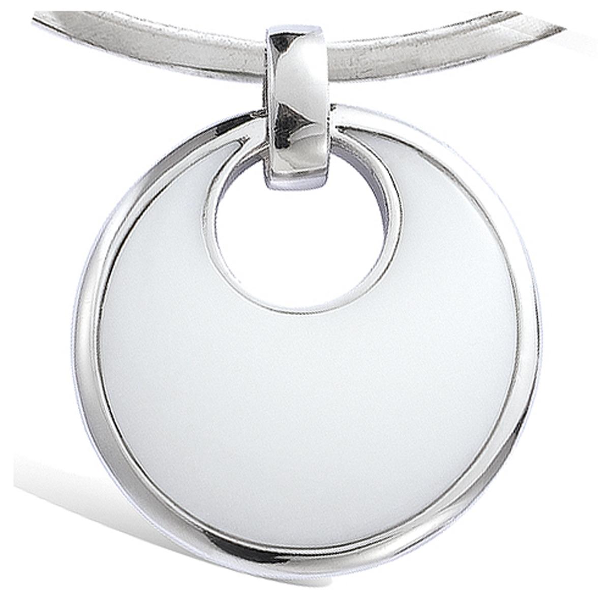 Pendentif Argent \'Obao\' blanc argenté (rhodié) - 35 mm - [G8837]