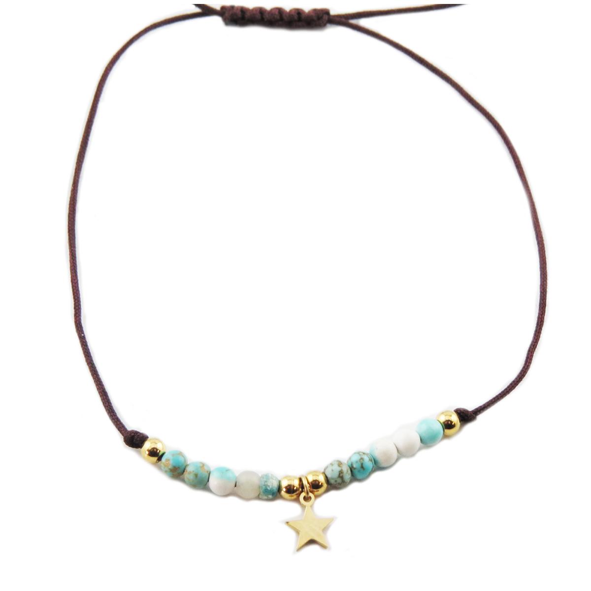 Bracelet acier \'Une Etoile est Née\' turquoise doré - étoile 7 mm - [R0139]