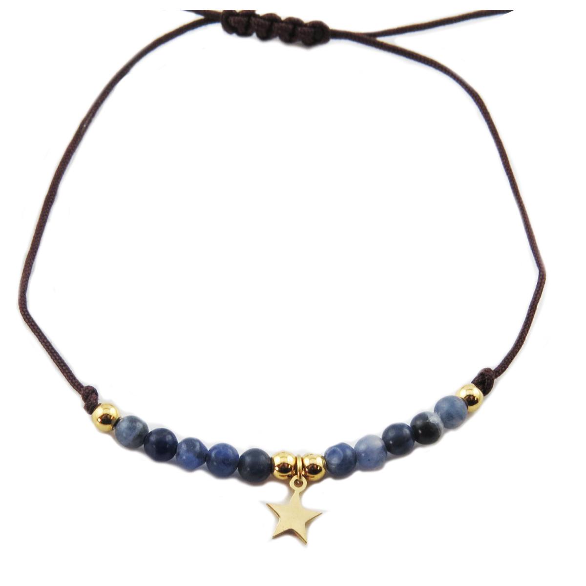 Bracelet acier \'Une Etoile est Née\' bleu doré - étoile 7 mm - [R0140]