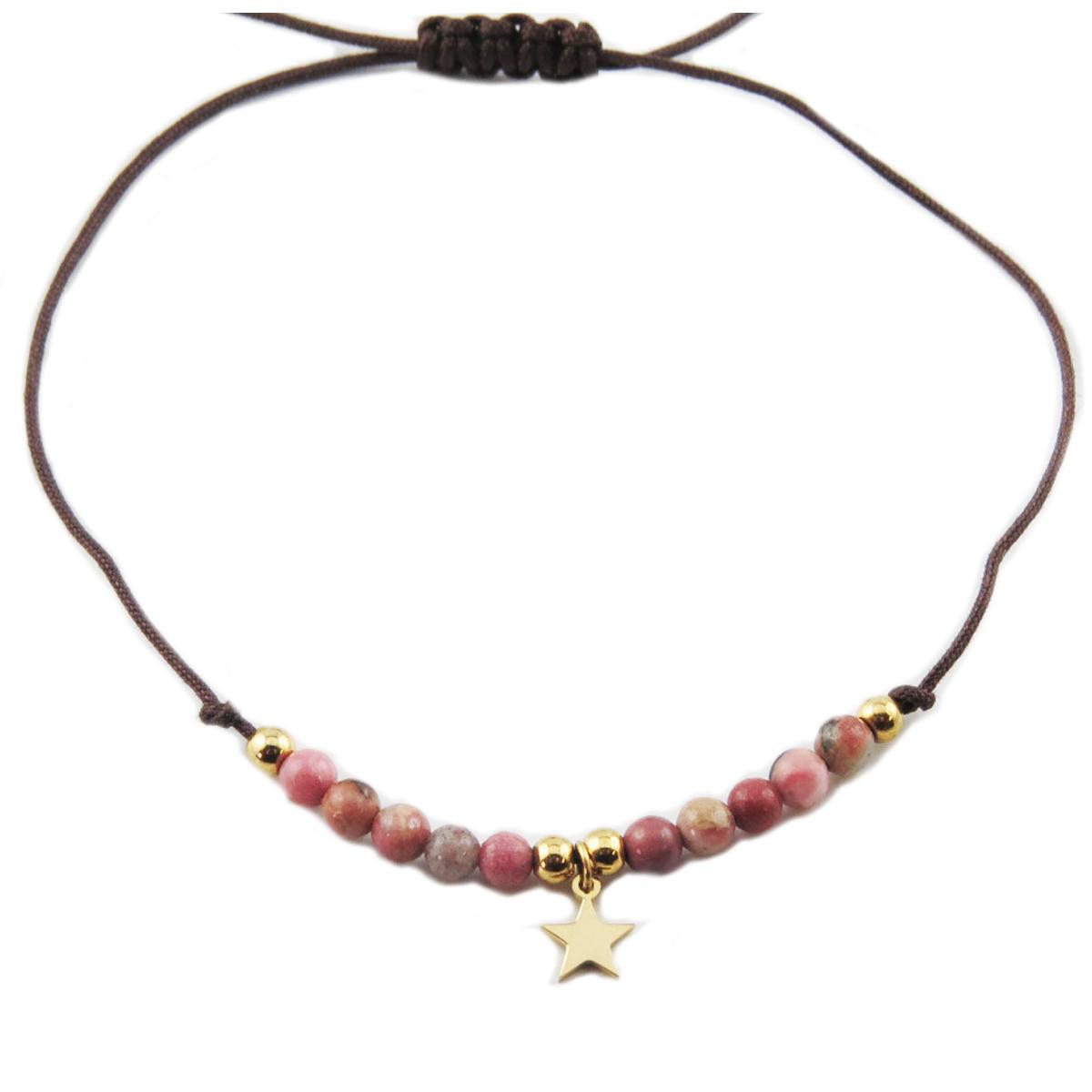 Bracelet acier \'Une Etoile est Née\' rose doré - étoile 7 mm - [R0141]