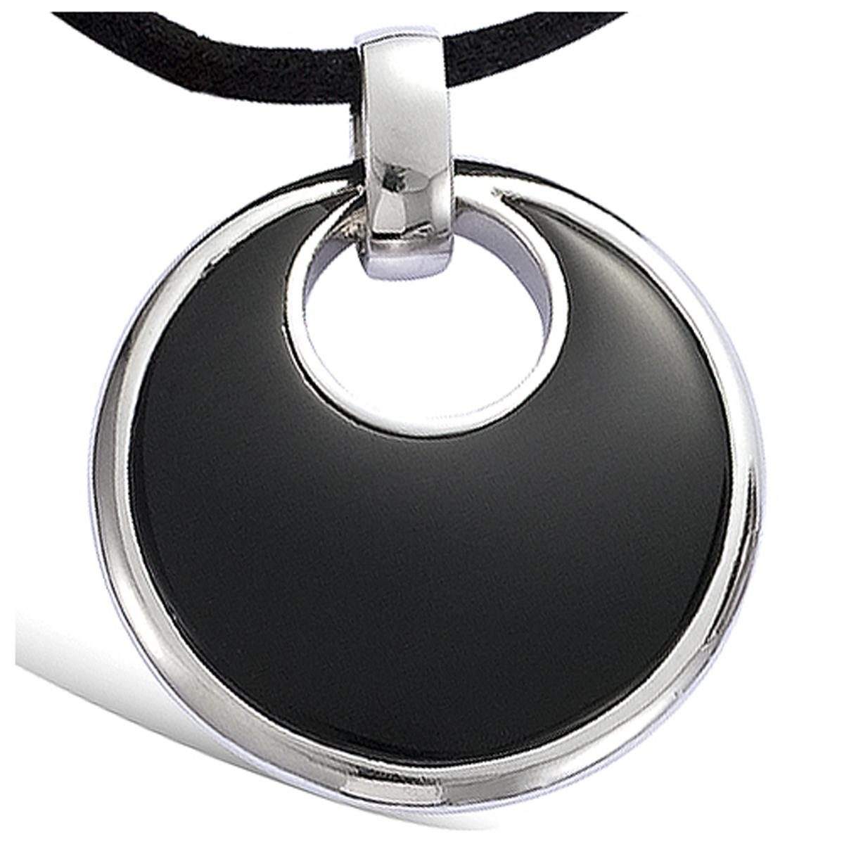 Pendentif Argent \'Obao\' noir argenté (rhodié) - 35 mm - [G8840]