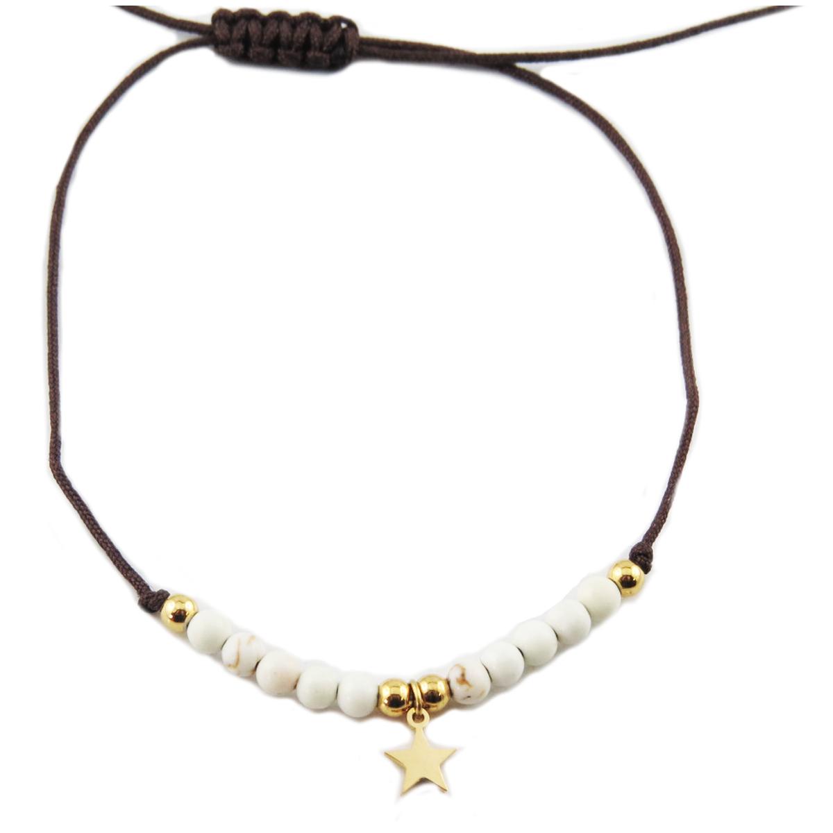 Bracelet acier \'Une Etoile est Née\' blanc doré - étoile 7 mm - [R0142]