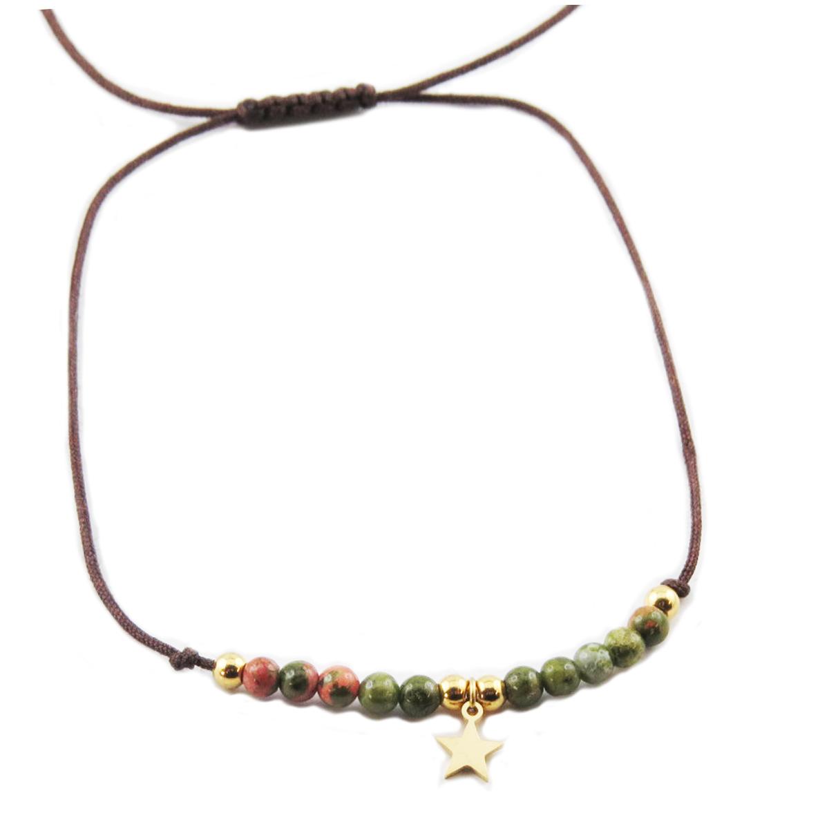 Bracelet acier \'Une Etoile est Née\' vert doré - étoile 7 mm - [R0143]
