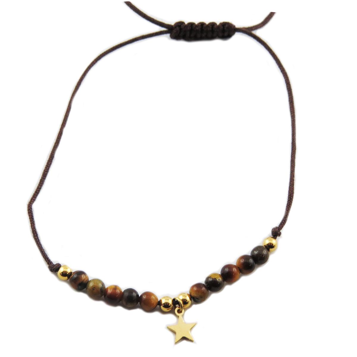 Bracelet acier \'Une Etoile est Née\' marron doré - étoile 7 mm - [R0144]