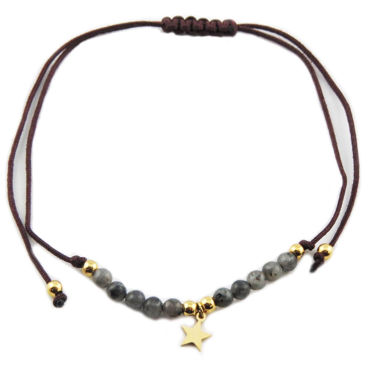 Bracelet acier \'Une Etoile est Née\' gris doré - étoile 7 mm - [R0145]