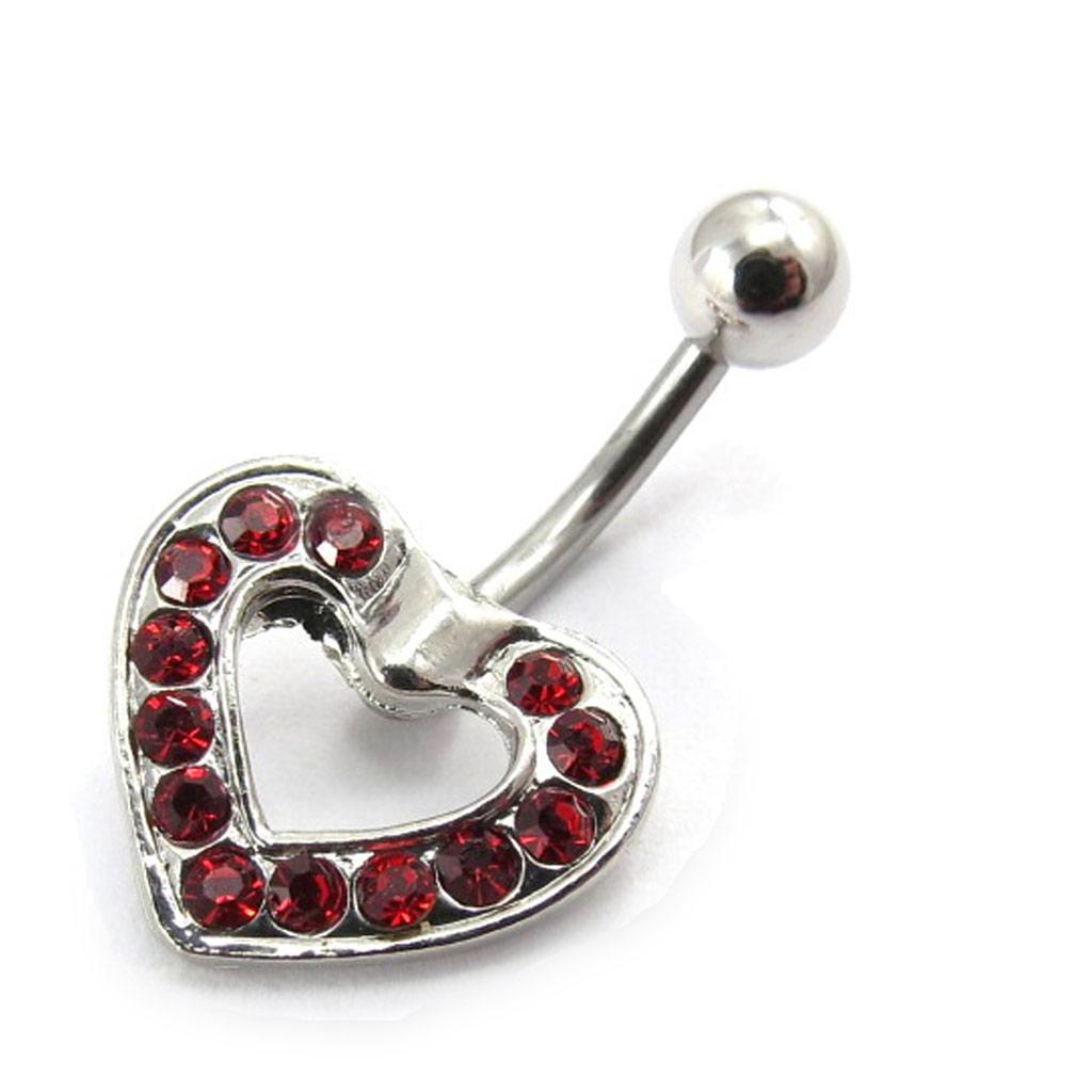 Body Piercing \'Coeur Déesse\' Rouge  - [E6412]