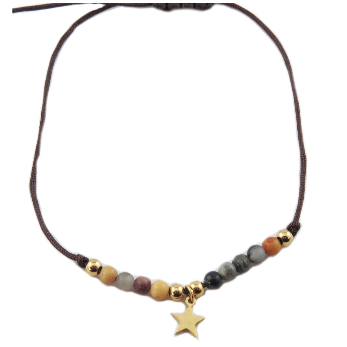 Bracelet acier \'Une Etoile est Née\' multicolore doré - étoile 7 mm - [R0146]