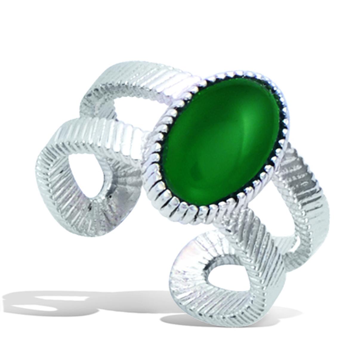 Bague Argent \'Cléopatra\' vert argenté (rhodié) - 12x8 mm - [Q7523]