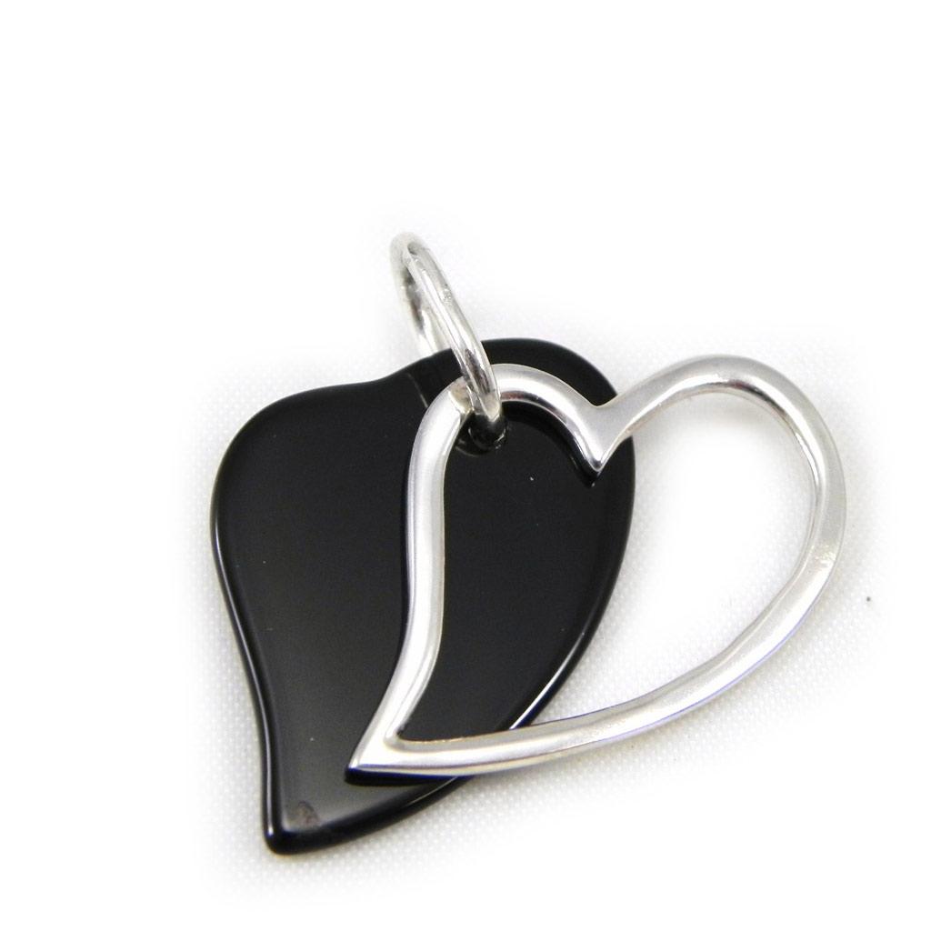 Pendentif Argent \'Obao Love\' noir - [G8849]