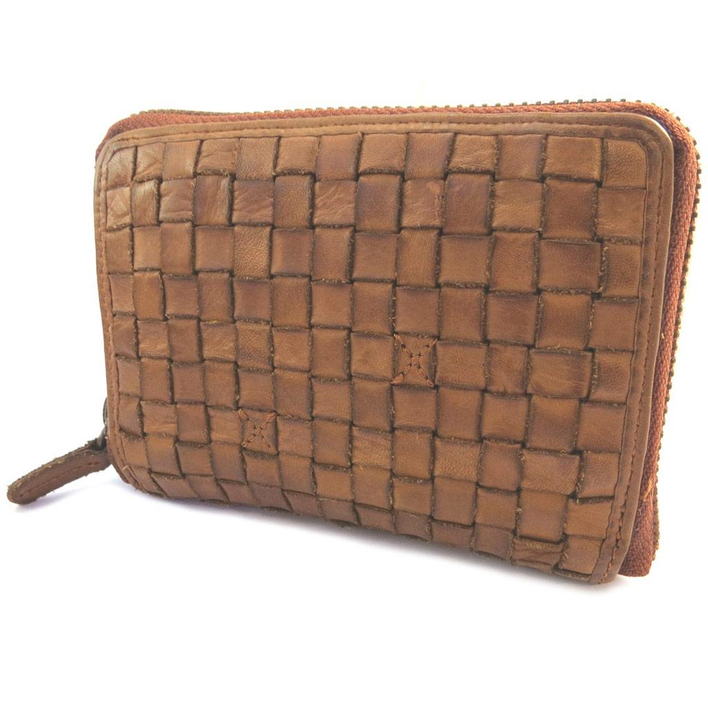 Portefeuille zippé cuir \'Gianni Conti\' cognac tressé vintage - 125x9x25 cm - [P3015]