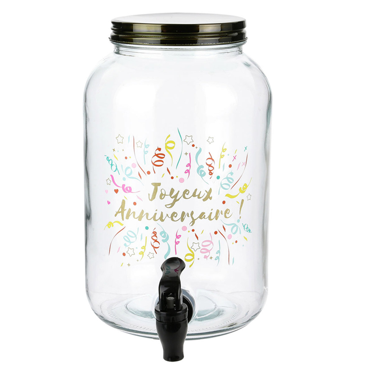 Fontaine mason jar verre \'Joyeux Annversaire !\' - 26x16 cm (35 L) - [R2530]