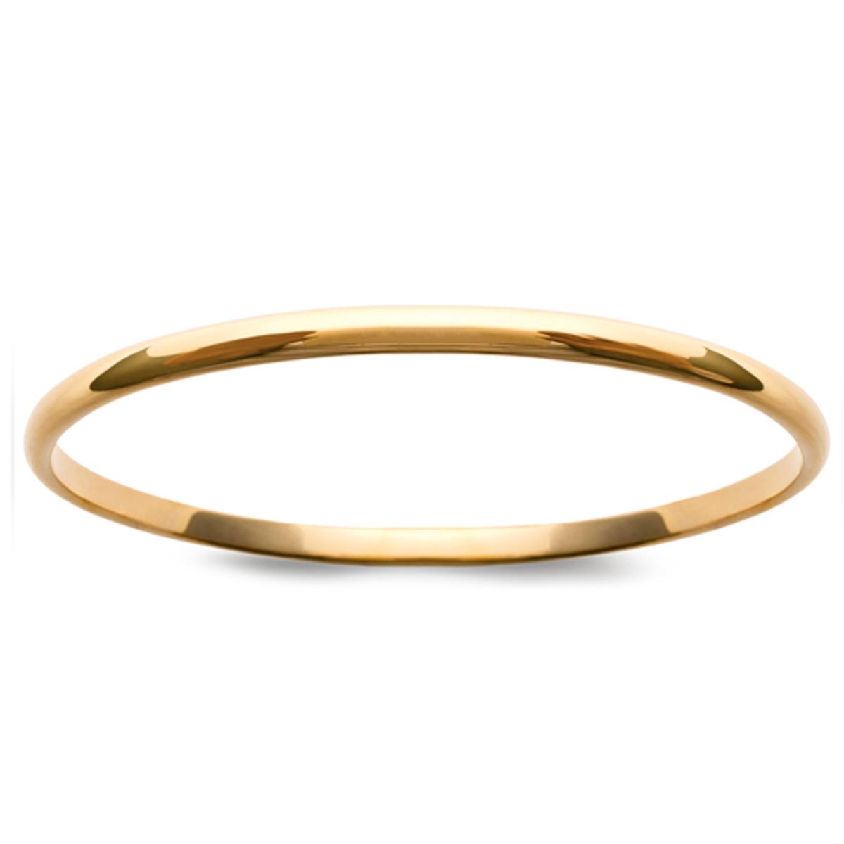 Bracelet Plaqué Or \'Demi-Jonc\' doré - 66 mm 4 mm - [J9366]