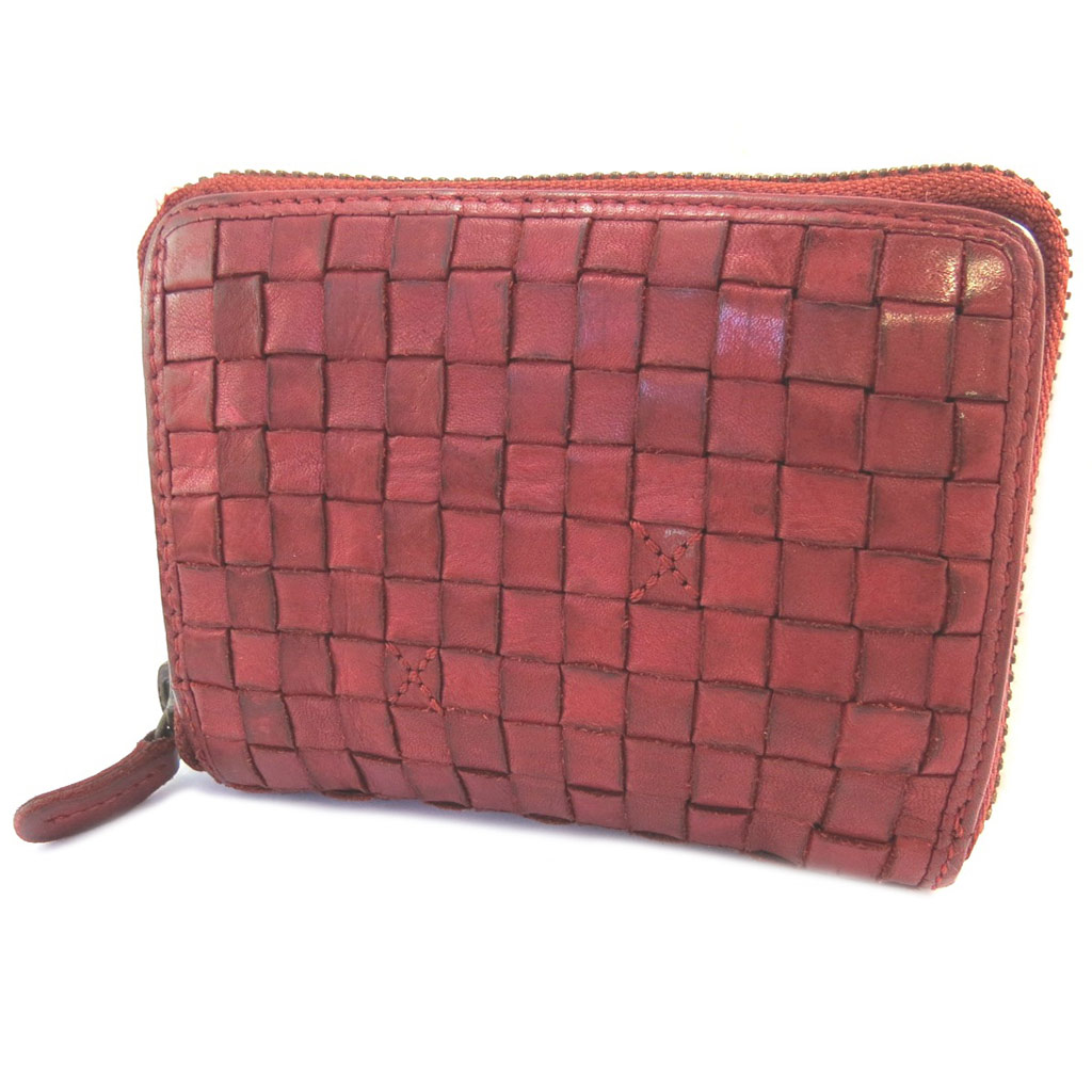 Portefeuille zippé cuir \'Gianni Conti\' rouge tressé vintage - 125x9x25 cm - [P3016]