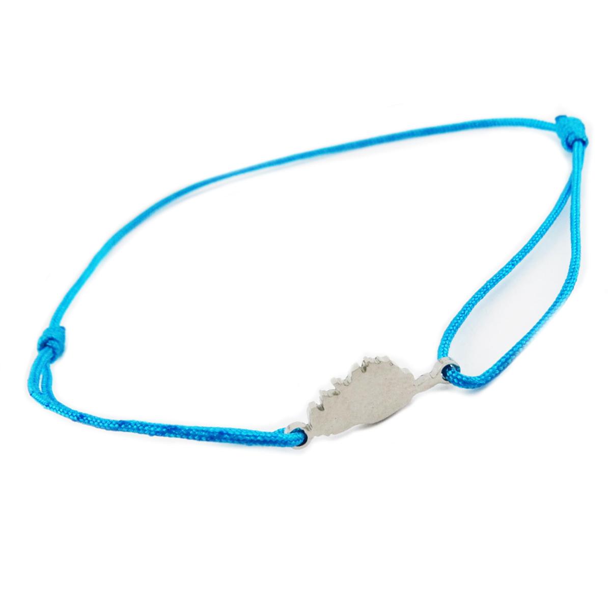 Bracelet acier \'Corsica\' bleu canard argenté (corse) - 10x7 mm - [R0149]