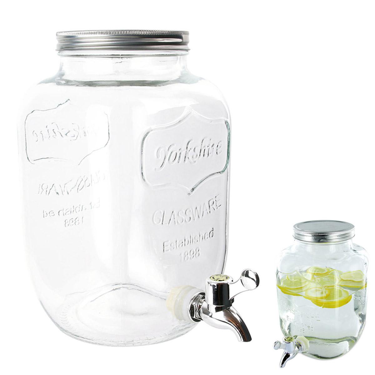 Fontaine mason jar verre \'Boho\' transparent - 255x215x135 cm (4 L) - [R2533]
