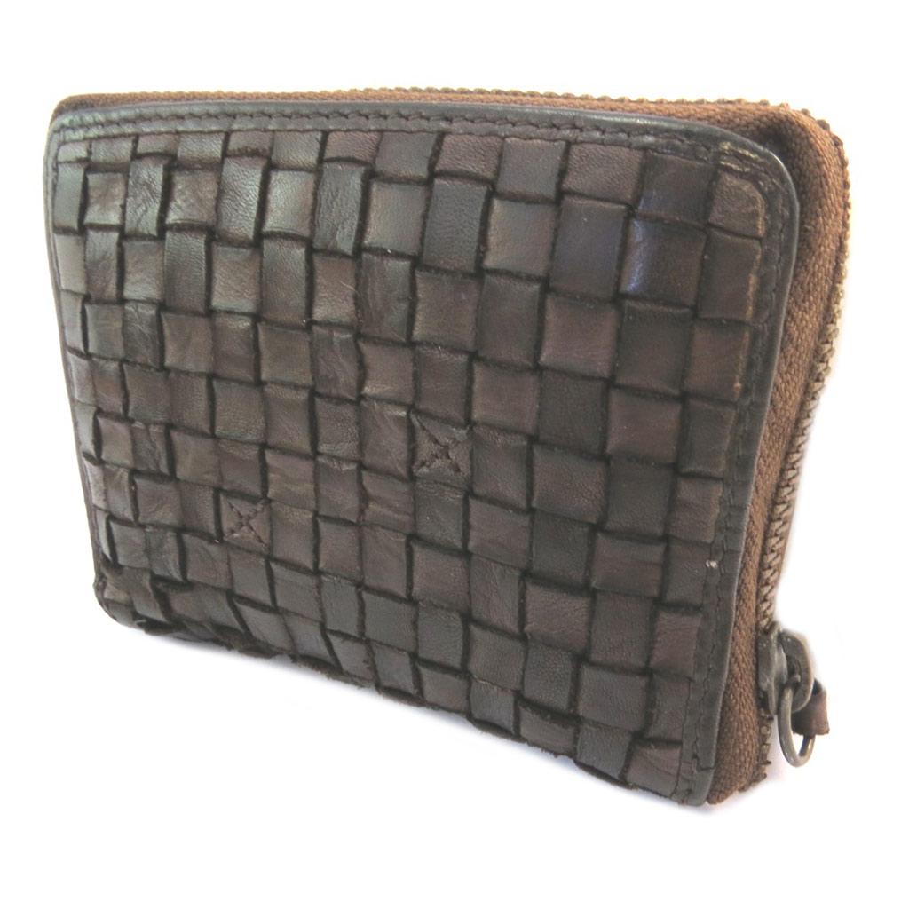 Portefeuille zippé cuir \'Gianni Conti\' marron foncé tressé vintage - 125x9x25 cm - [P3017]