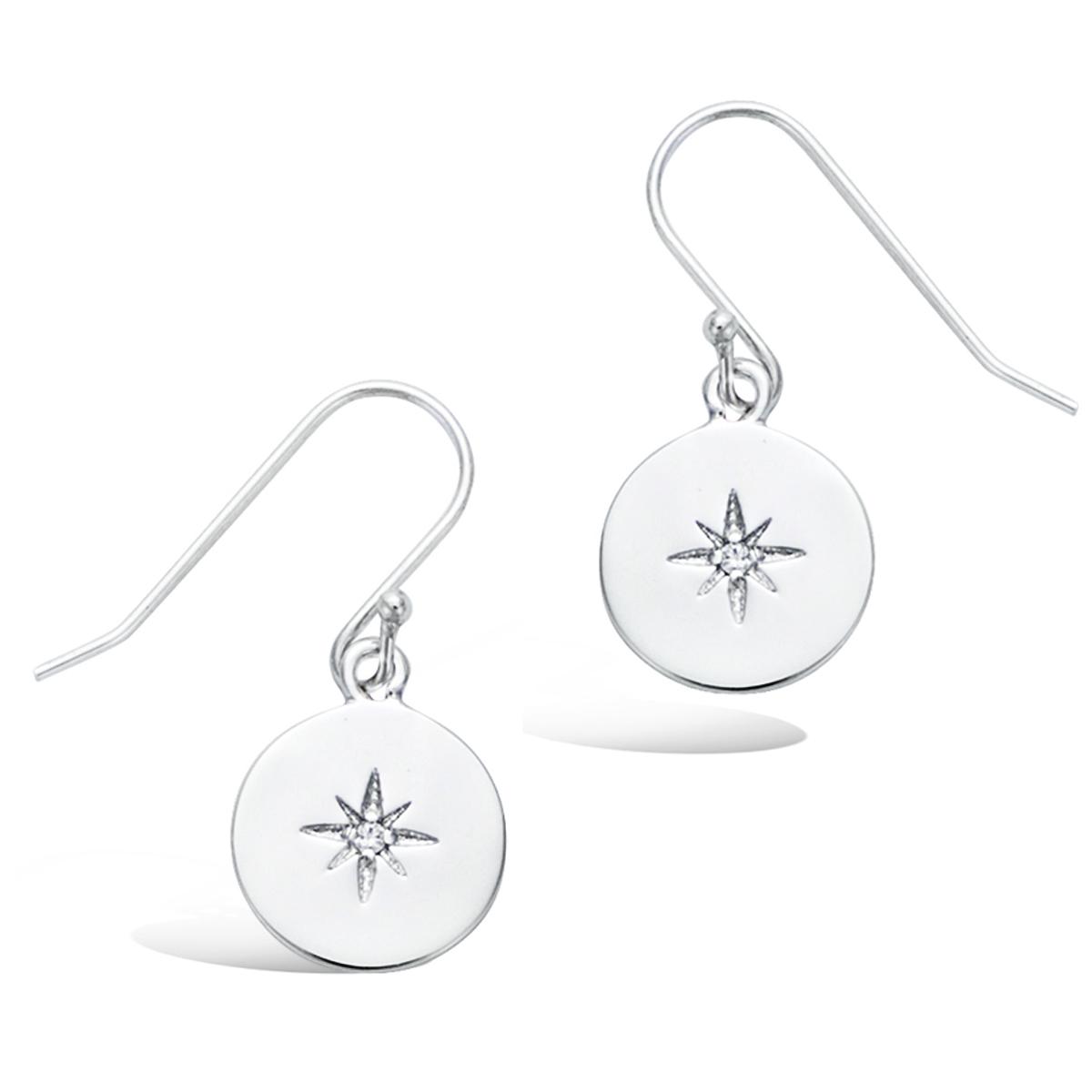 Boucles  argent \'Boho\' argenté (rhodié) - 11 mm (étoile du nord) - [Q7529]