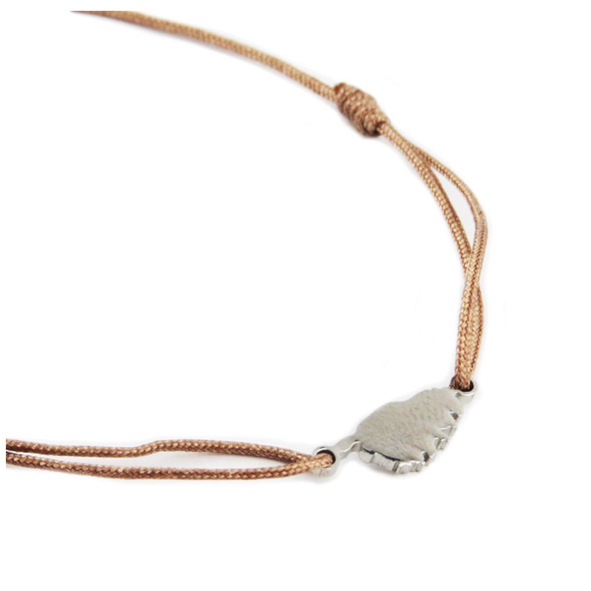 Bracelet acier \'Corsica\' marron argenté (corse) - 10x7 mm - [R0157]