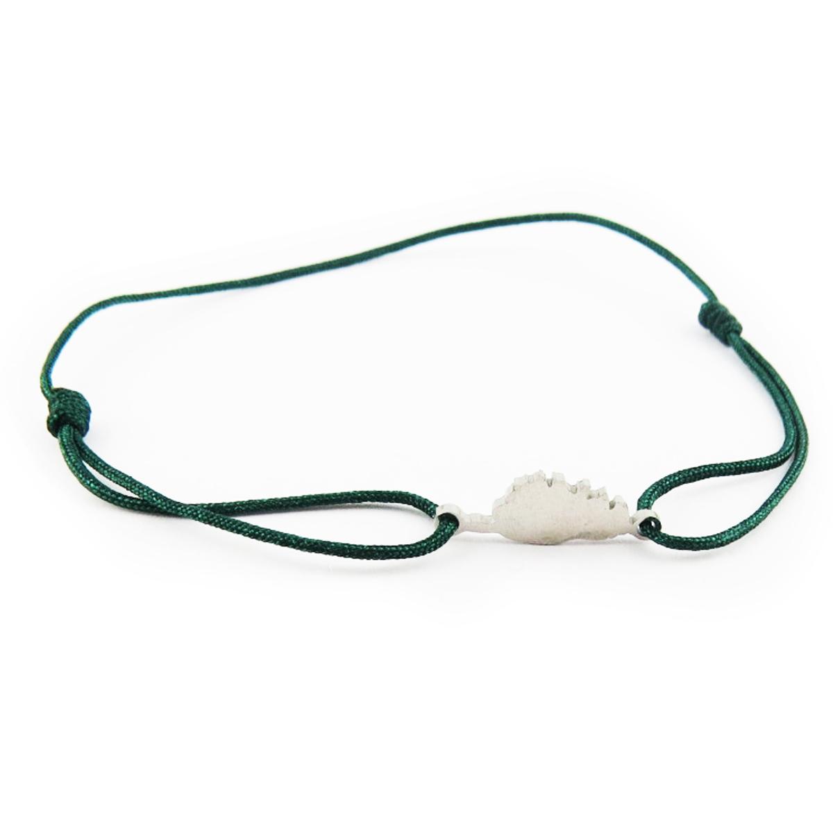 Bracelet acier \'Corsica\' vert argenté (corse) - 10x7 mm - [R0158]