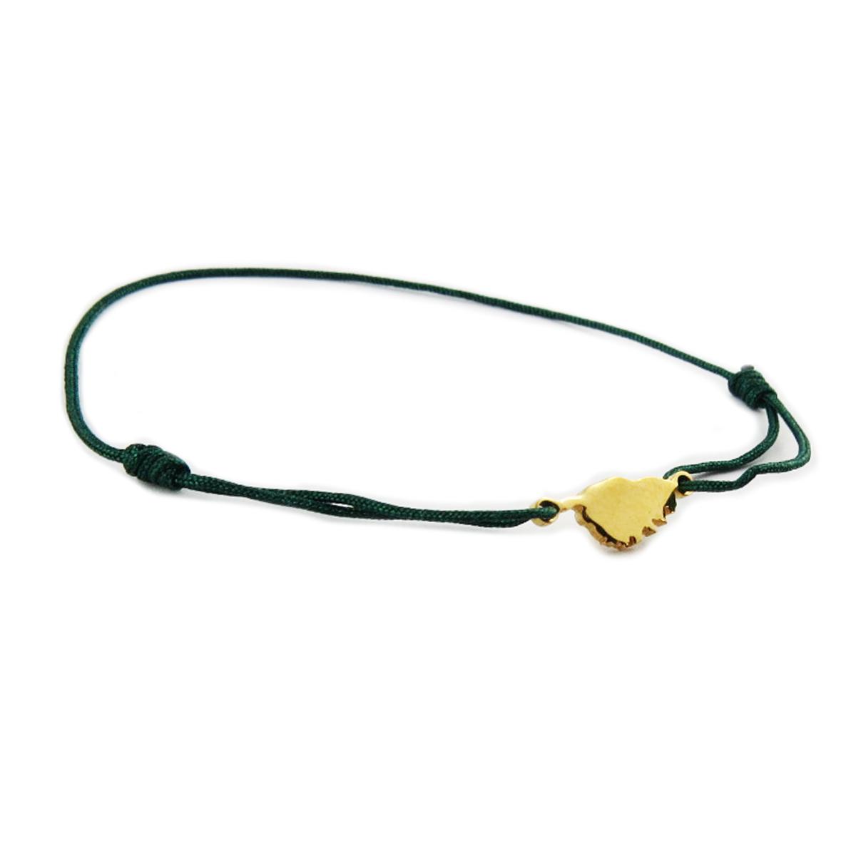 Bracelet acier \'Corsica\' vert doré (corse) - 10x7 mm - [R0164]