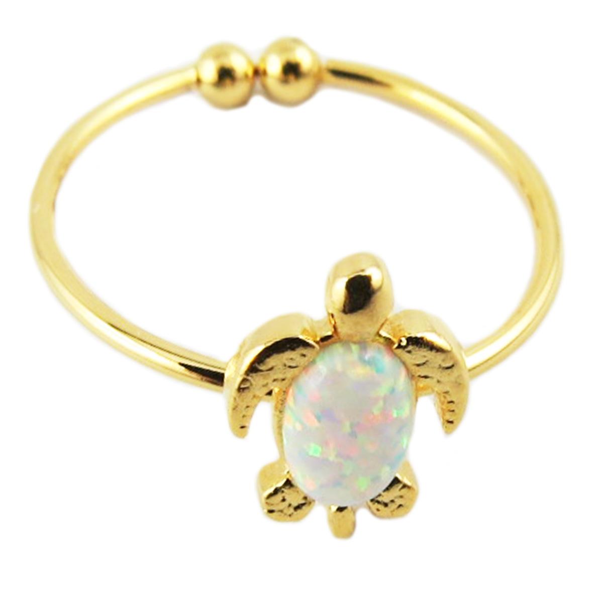 Bague artisanale \'Tortue\' blanc opale doré - 10x7 mm - [R1513]