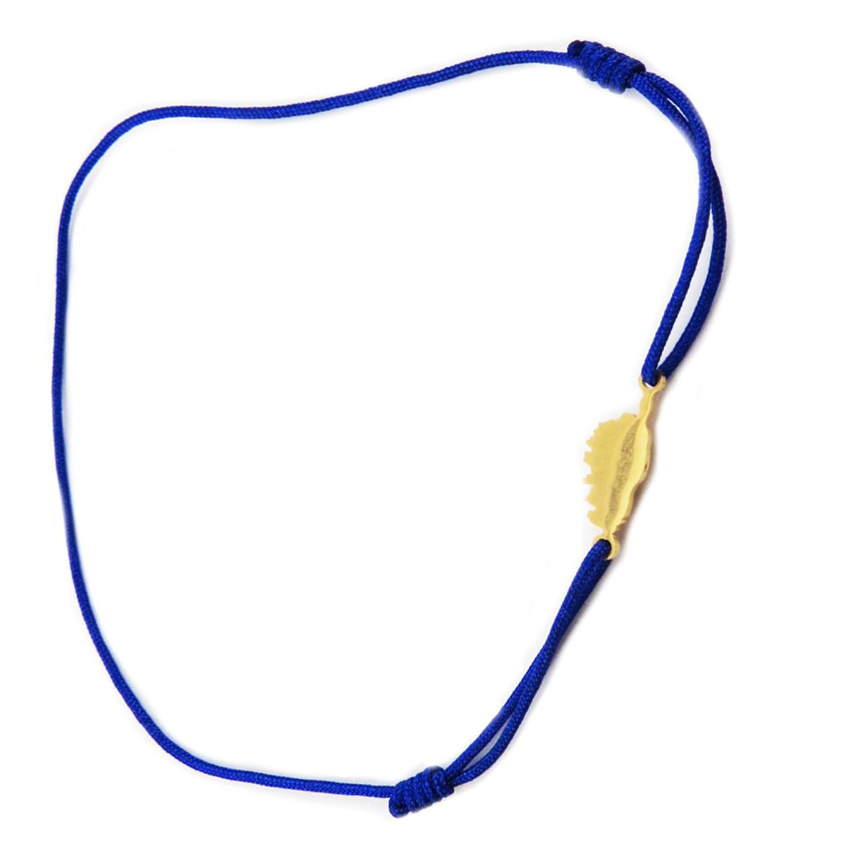 Bracelet acier \'Corsica\' bleu roi doré (corse) - 10x7 mm - [R0169]