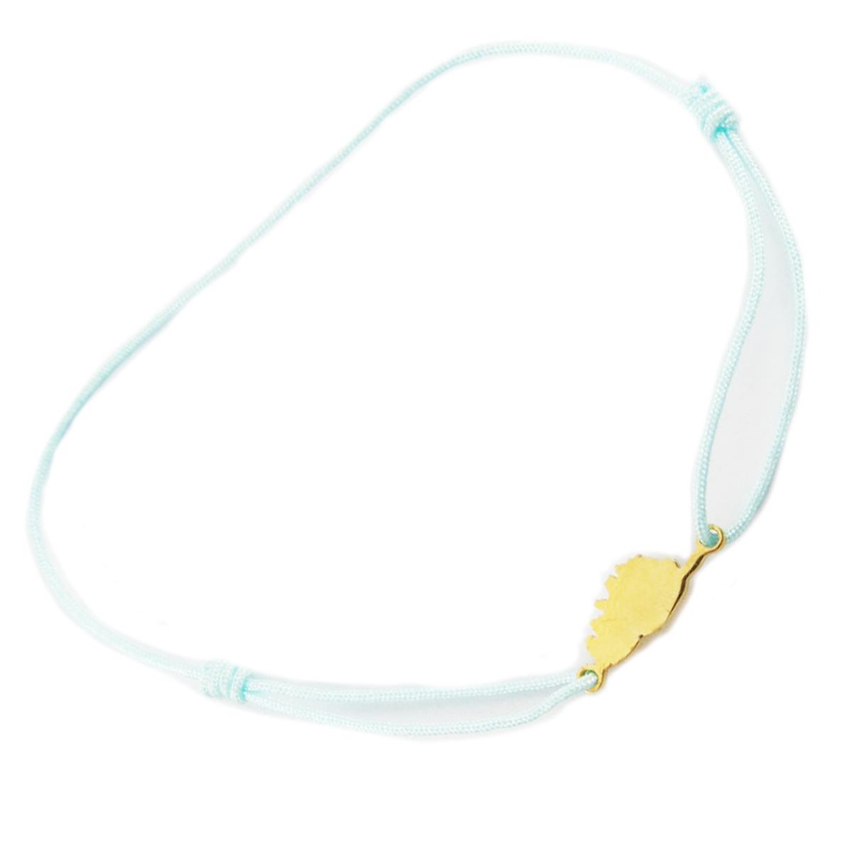 Bracelet acier \'Corsica\' bleu clair doré (corse) - 10x7 mm - [R0170]