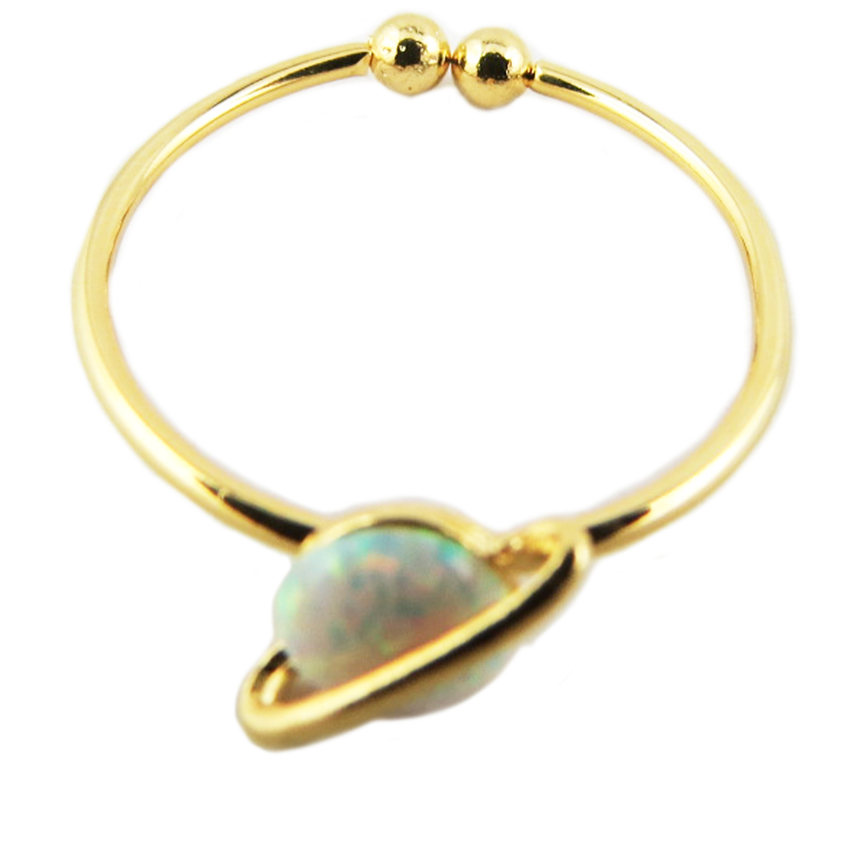 Bague artisanale \'Saturne\' blanc opale doré - 6 mm - [R1515]