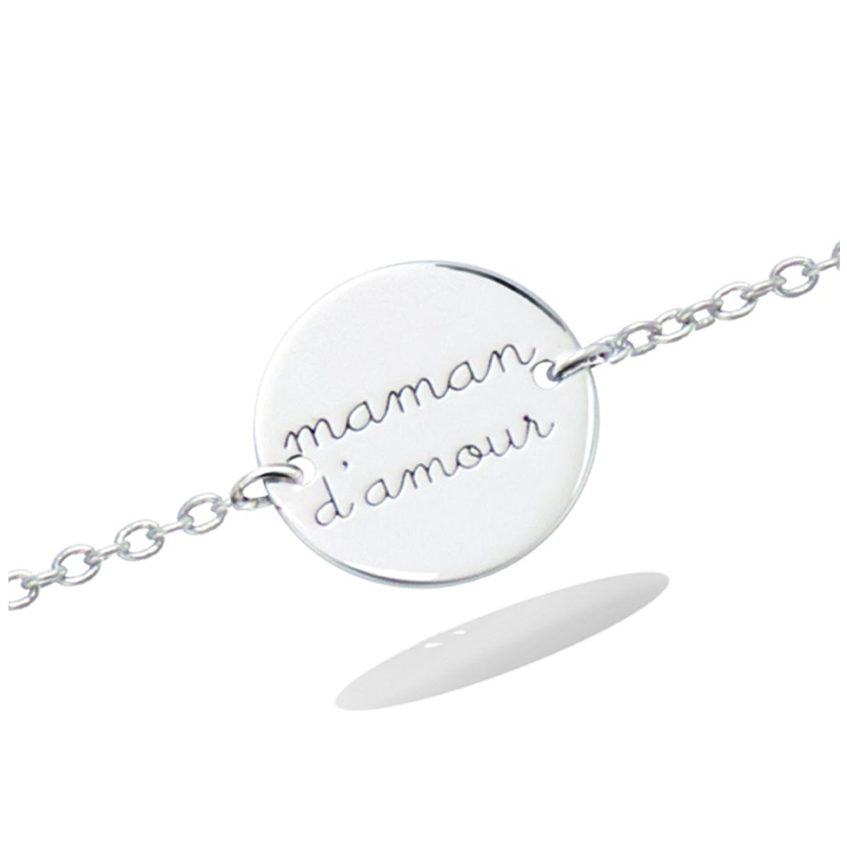 Bracelet Argent \'Maman d\'Amour\' argenté (rhodié) - 12 mm - [R2557]