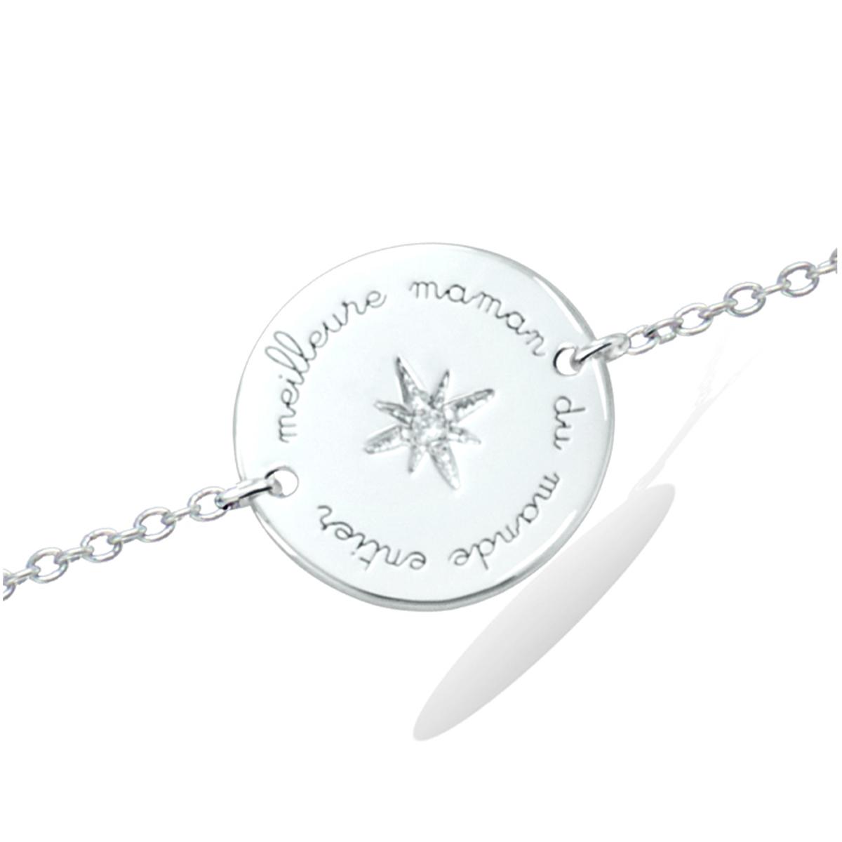Bracelet Argent \'Meilleure Maman du Monde Entier\' blanc argenté (rhodié) - 15 mm - [R2559]